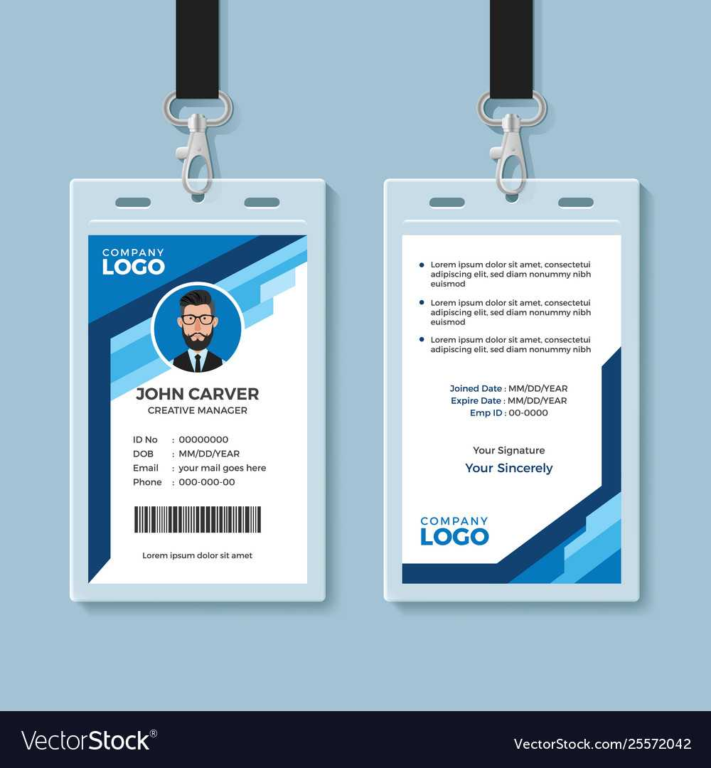 Blue Graphic Employee Id Card Template With Sample Of Id Card Template