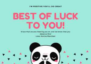 Blue Illustrated Panda Good Luck Card – Templatescanva inside Good Luck Card Templates