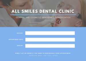 Blue Patient Photo Dentist Appointment Card – Templatescanva for Dentist Appointment Card Template