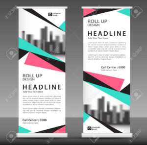 Blue-Pink Roll Up Banner Template. Pull Up Layout. Business Brochure.. with regard to Pop Up Brochure Template