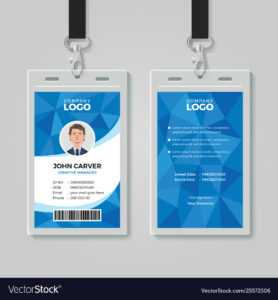 Blue Polygon Office Id Card Template regarding Sample Of Id Card Template