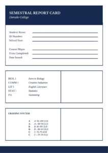 Blue Simple Semestral College Report Card – Templatescanva pertaining to College Report Card Template