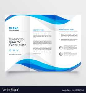 Blue Wavy Business Trifold Brochure Template in Free Illustrator Brochure Templates Download