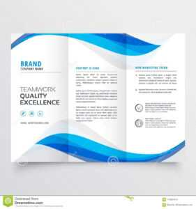 Blue Wavy Business Trifold Brochure Template Stock Vector with Brochure Template Illustrator Free Download