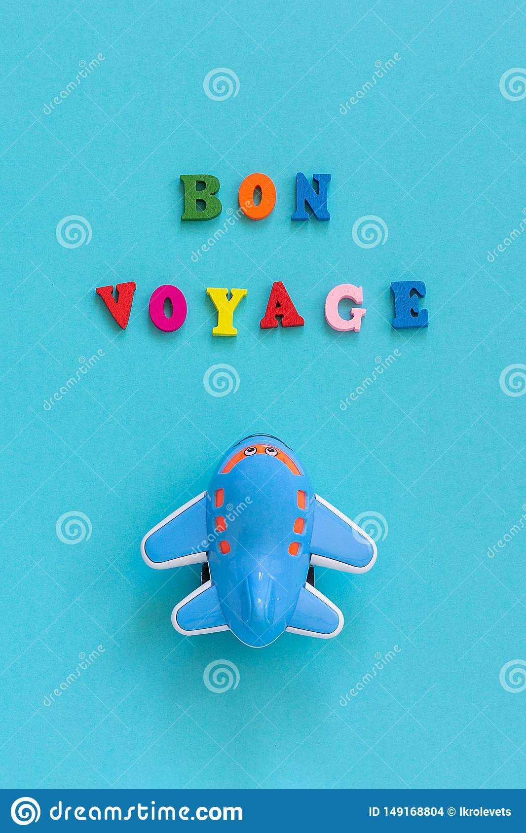 Bon Voyage Colorful Text And Children`s Funny Toy Plane On Throughout Bon Voyage Card Template