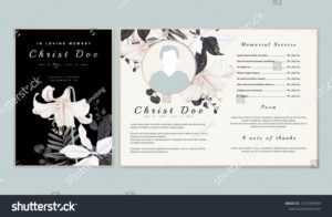 Botanical Memorial Funeral Invitation Card Template Stock within Funeral Invitation Card Template
