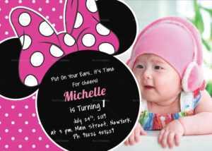 Bright Minnie Mouse Birthday Invitation Card Template inside Minnie Mouse Card Templates