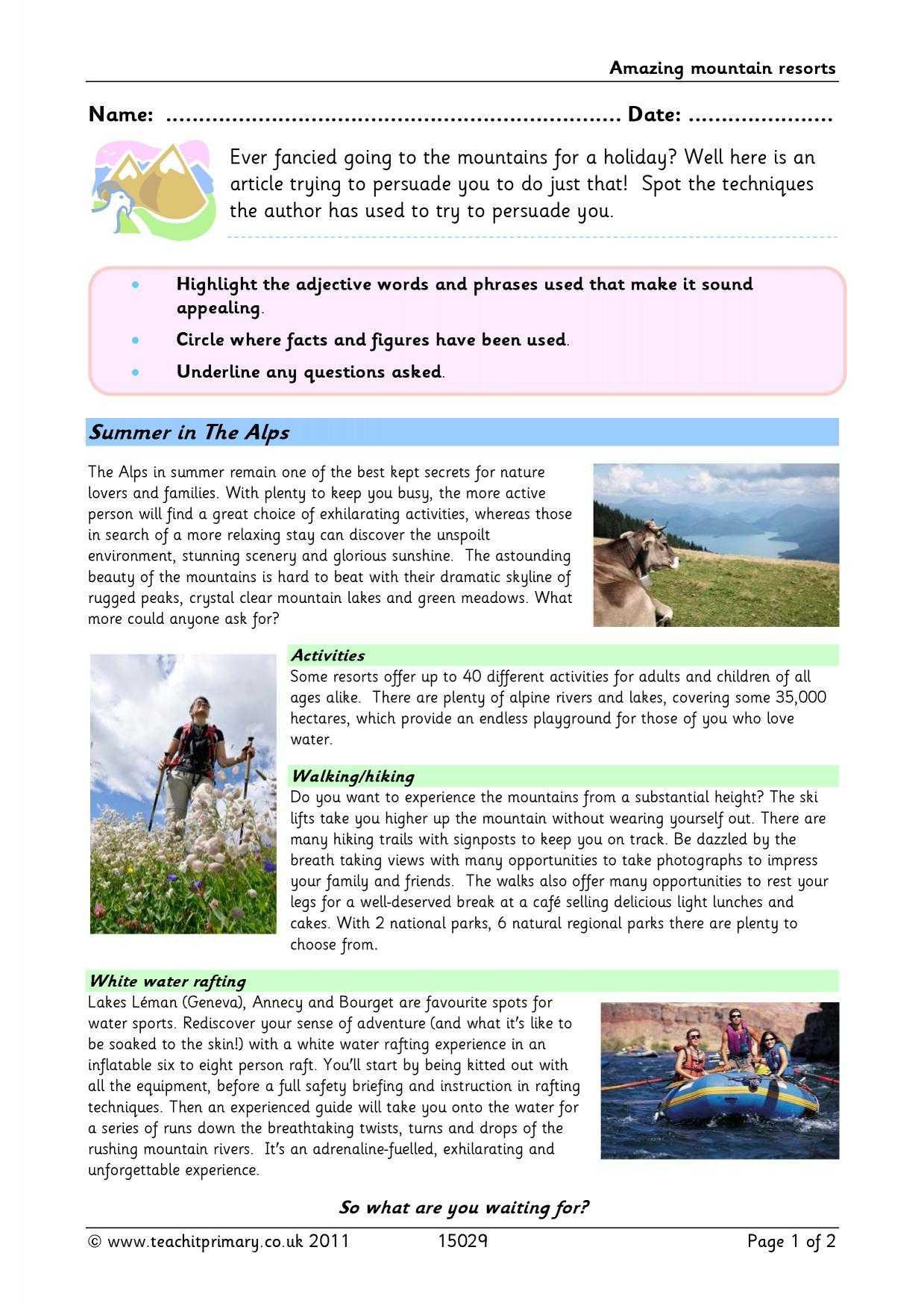 Brochure Writing - Amazing Mountain Resorts Within Travel Brochure Template Ks2
