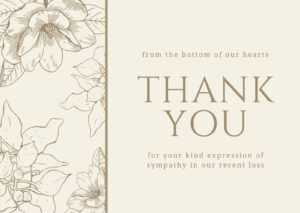Brown Floral Sympathy Thank You Card – Templatescanva pertaining to Sympathy Thank You Card Template