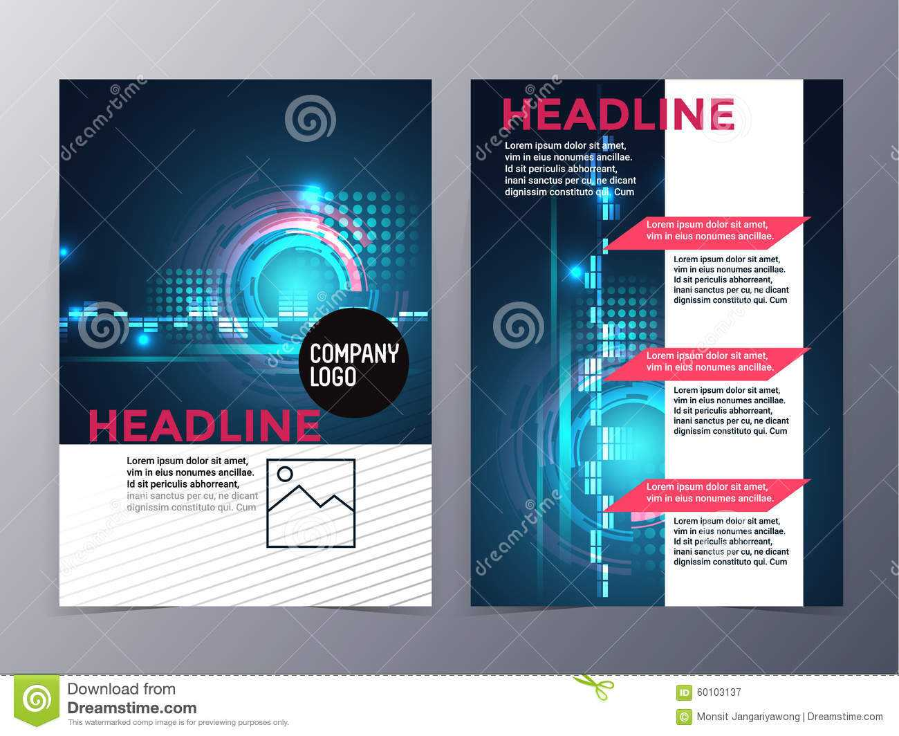 Business And Technology Brochure Design Template Vector Tri Within Technical Brochure Template