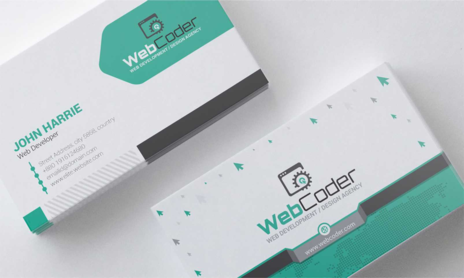 'business Card Design For Web Design And Developer' - Адаптивний Psd Шаблон  №66306 Throughout Web Design Business Cards Templates