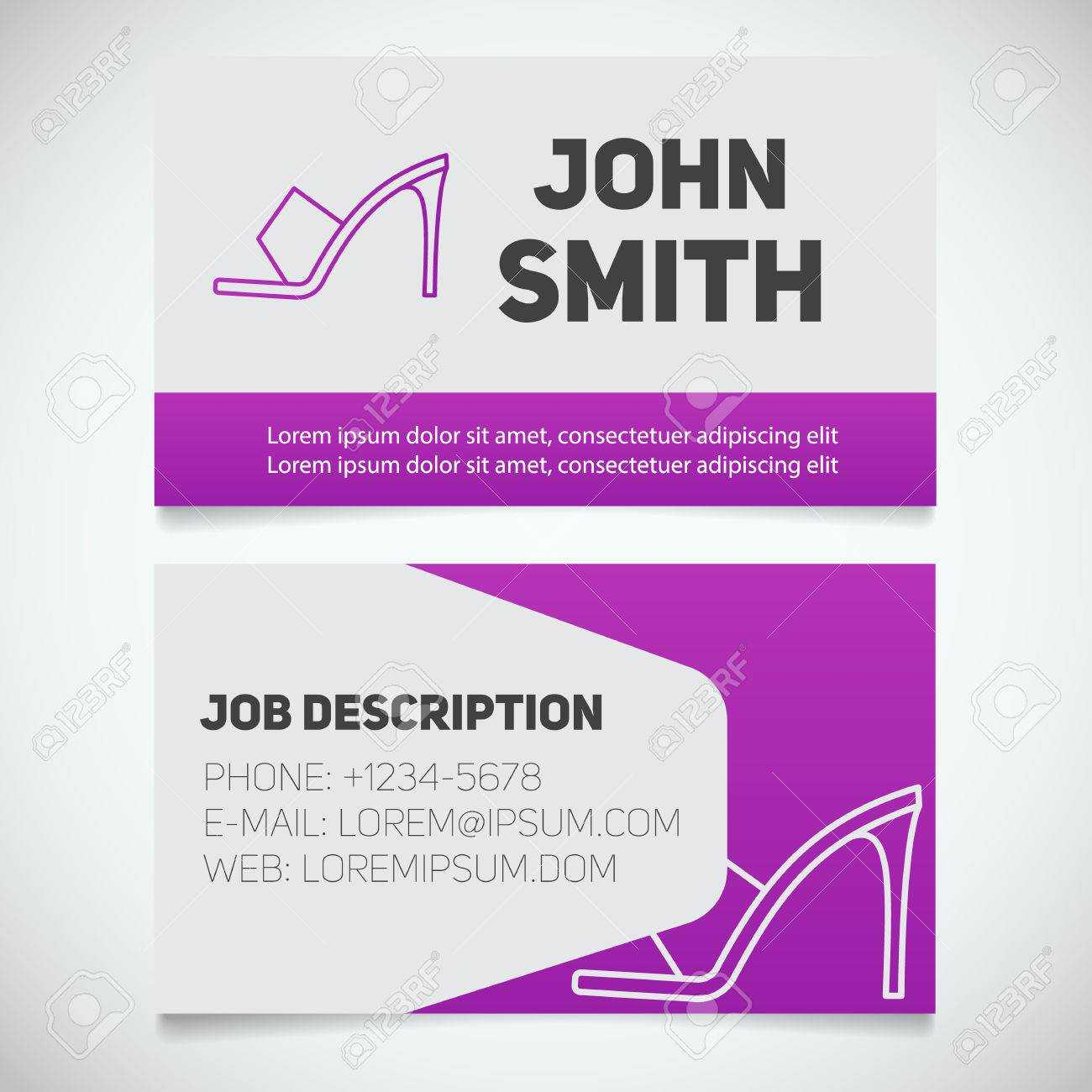 Business Card Print Template With High Heel Shoe Logo. Manager Regarding High Heel Template For Cards