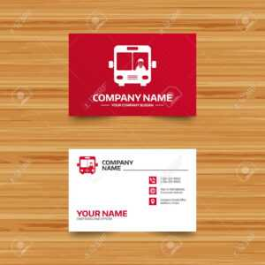 Business Card Template. Bus Sign Icon. Public Transport With.. in Transport Business Cards Templates Free