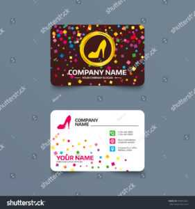 Business Card Template Confetti Pieces Women Stock Vector with regard to High Heel Shoe Template For Card