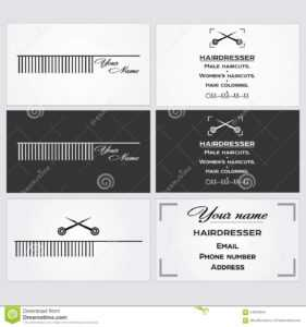 Business Card Template For A Hairdresser. Stock Vector for Hairdresser Business Card Templates Free