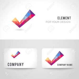 Business Card Template Set. Polygonal Crystal Check Mark Or Tick.. throughout Acceptance Card Template