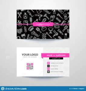 Business Card Template With Hair Salon Symbols. Stock Vector in Hair Salon Business Card Template