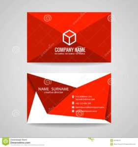 Business Card Vector Graphic Design , Red Triangle Fold And inside Fold Over Business Card Template