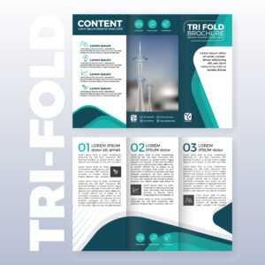 Business Tri-Fold Brochure Template Design With Turquoise within Tri Fold Brochure Publisher Template