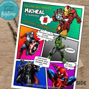 Calling All Avengers Comic Birthday Party Invitation Printable in Avengers Birthday Card Template