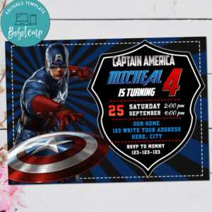 Captain America Avenger Birthday Digital Invitation Printable throughout Avengers Birthday Card Template