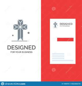 Cathedral, Church, Cross, Parish Grey Logo Design And with Christian Business Cards Templates Free