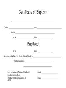Catholic Baptism Certificate Online – Fill Online, Printable with Roman Catholic Baptism Certificate Template