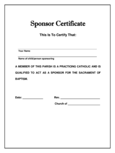 Catholic Church God Parent Sponser Form – Fill Online with Roman Catholic Baptism Certificate Template