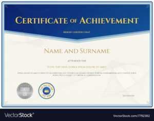 Certificate Achievement Template Blue Theme in Certificate Of Accomplishment Template Free