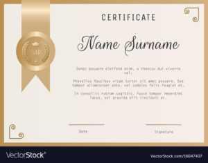 Certificate Award Template Blank In Gold inside Template For Certificate Of Award