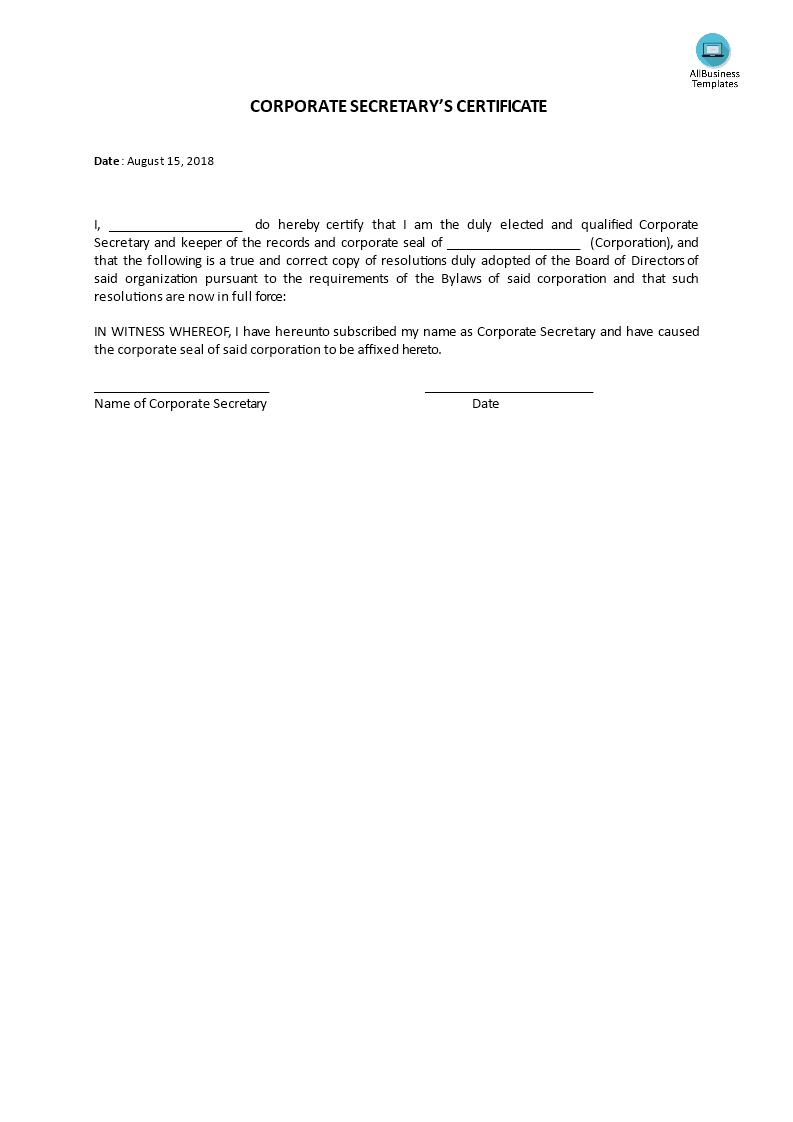 Certificate, Corporate Secretary's | Templates At In Corporate Secretary Certificate Template