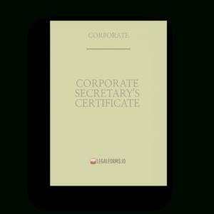 Certificate, Corporate Secretary'S within Corporate Secretary Certificate Template