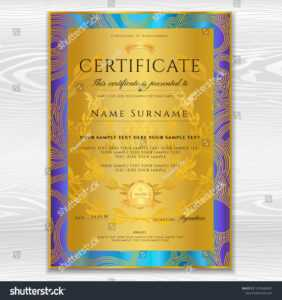 Certificate Diploma Golden Design Template Background Stock throughout Certificate Scroll Template