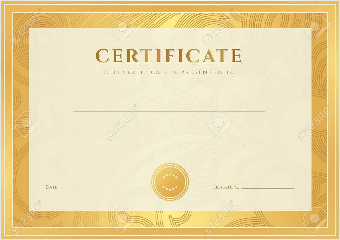Certificate, Diploma Of Completion Template, Background Gold.. Within Certificate Scroll Template