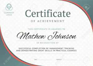 Certificate Of Achievement Template Design. Business Diploma.. inside Free Training Completion Certificate Templates