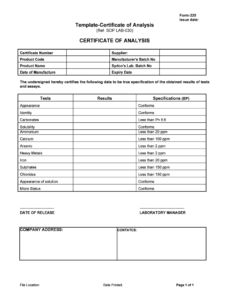 Certificate Of Analysis Template – Fill Online, Printable for Certificate Of Appearance Template