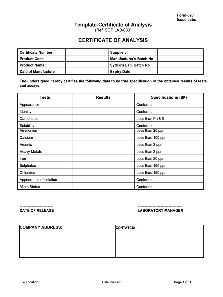 Certificate Of Analysis Template - Fill Online, Printable Regarding Certificate Of Analysis Template