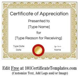 Certificate Of Appreciation intended for Certificate Of Appreciation Template Free Printable