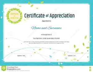 Certificate Of Appreciation Template In Nature Theme With with Free Certificate Of Appreciation Template Downloads