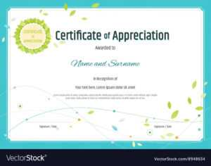 Certificate Of Appreciation Template Nature Theme for Free Template For Certificate Of Recognition