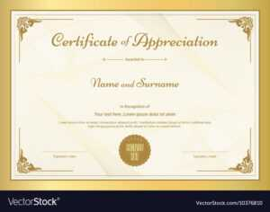 Certificate Of Appreciation Template within In Appreciation Certificate Templates