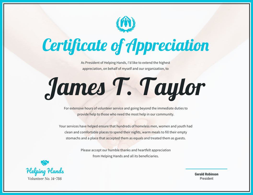 Certificate Of Appreciation With Volunteer Award Certificate Template