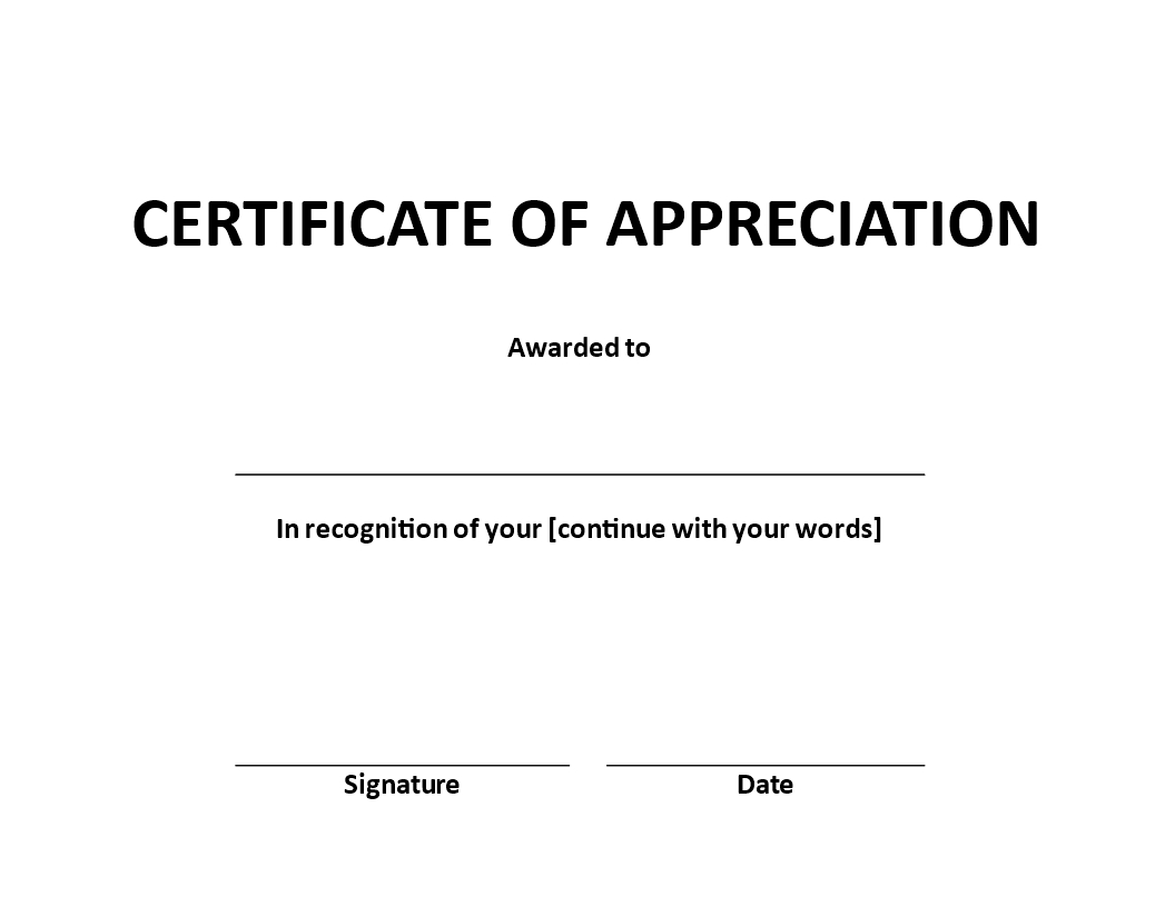 Certificate Of Appreciation Word Example | Templates At Pertaining To Certificate Of Appearance Template