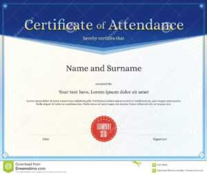 Certificate Of Attendance Template In Vector Stock Vector in Perfect Attendance Certificate Free Template