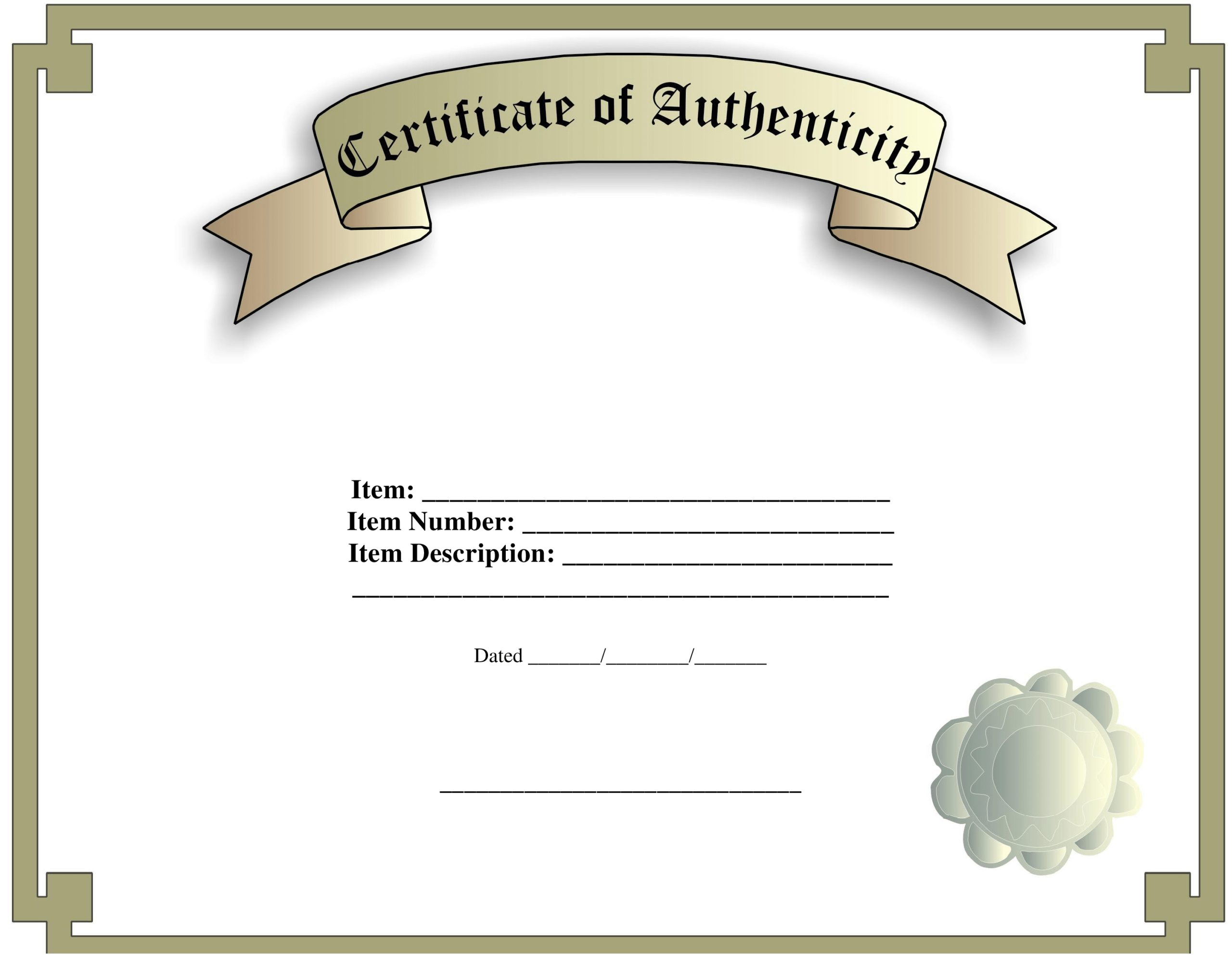 Certificate Of Authenticity Template | Templates At Within Certificate Of Authenticity Template