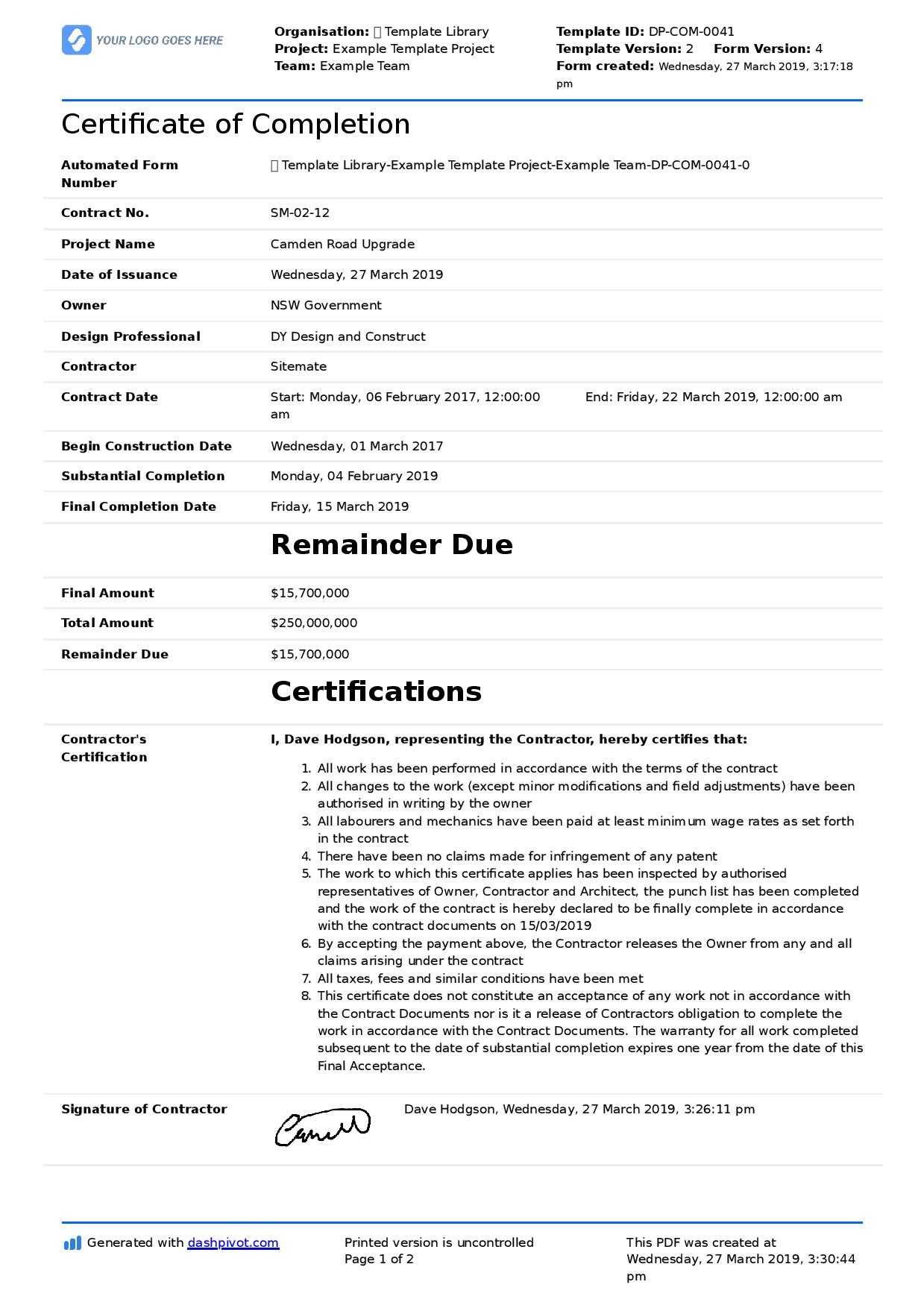Certificate Of Completion For Construction (Free Template + Intended For Construction Certificate Of Completion Template