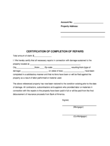 Certificate Of Completion For Insurance Purposes – Fill in Construction Certificate Of Completion Template