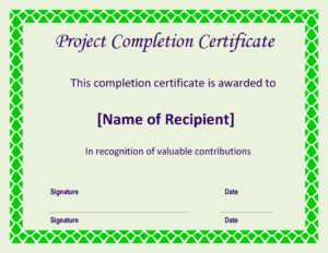 Certificate Of Completion Project | Templates At for Construction Certificate Of Completion Template