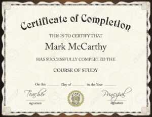 Certificate Of Completion Template intended for Certification Of Completion Template