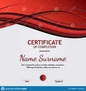 Certificate Of Completion Template With Dynamic Red And regarding Gymnastics Certificate Template